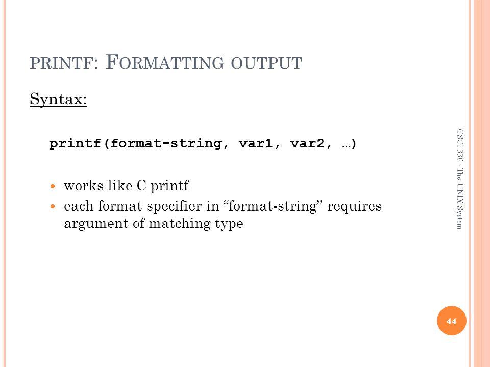 printf: Formatting output