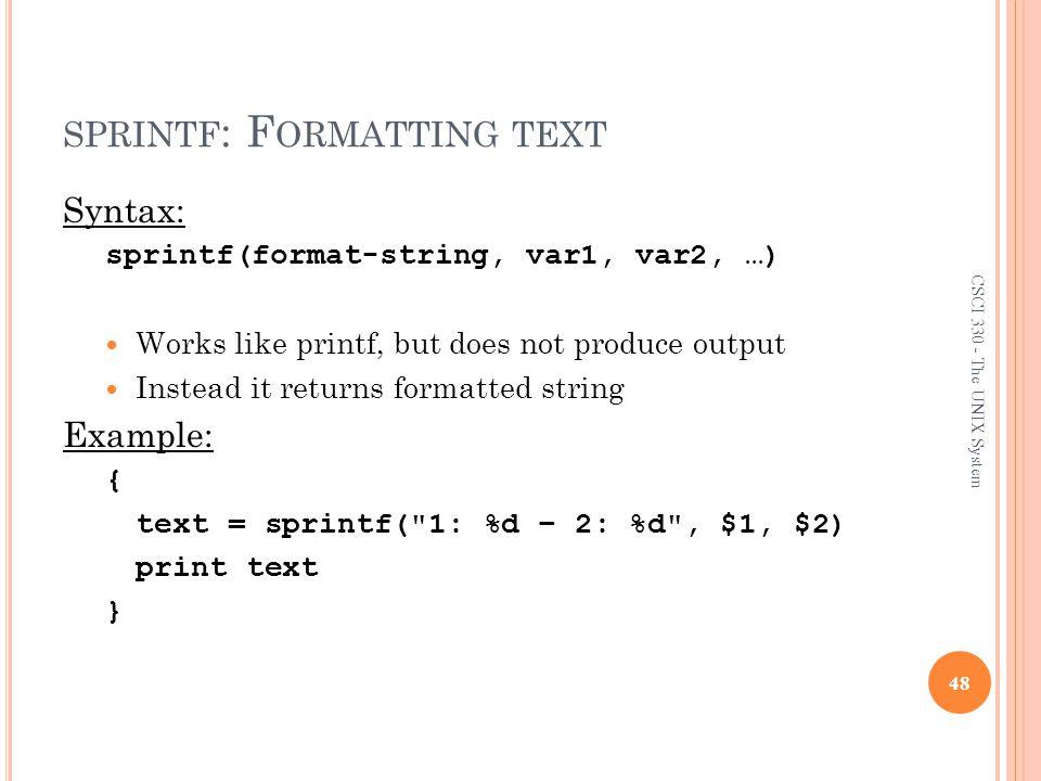 sprintf: Formatting text