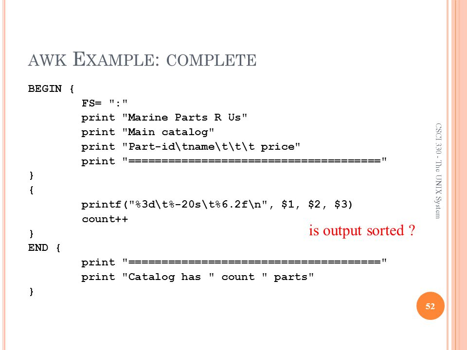 awk Example: complete is output sorted