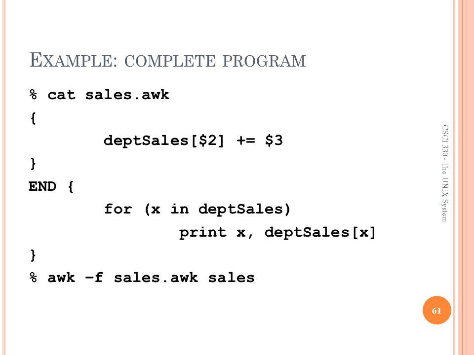 Example: complete program