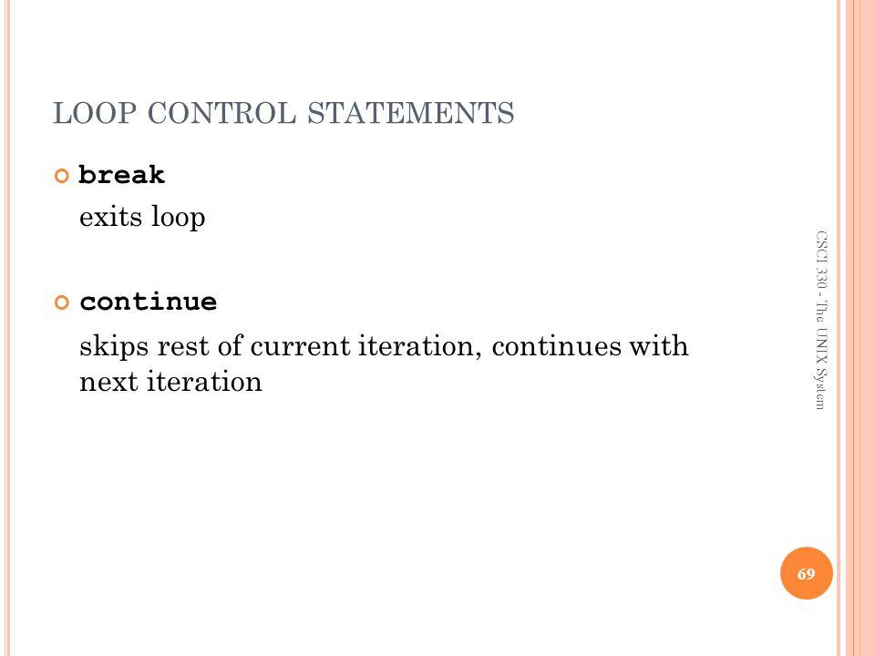 loop control statements