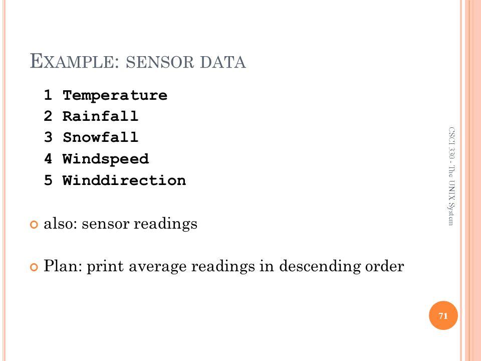 Example: sensor data 1 Temperature 2 Rainfall 3 Snowfall 4 Windspeed