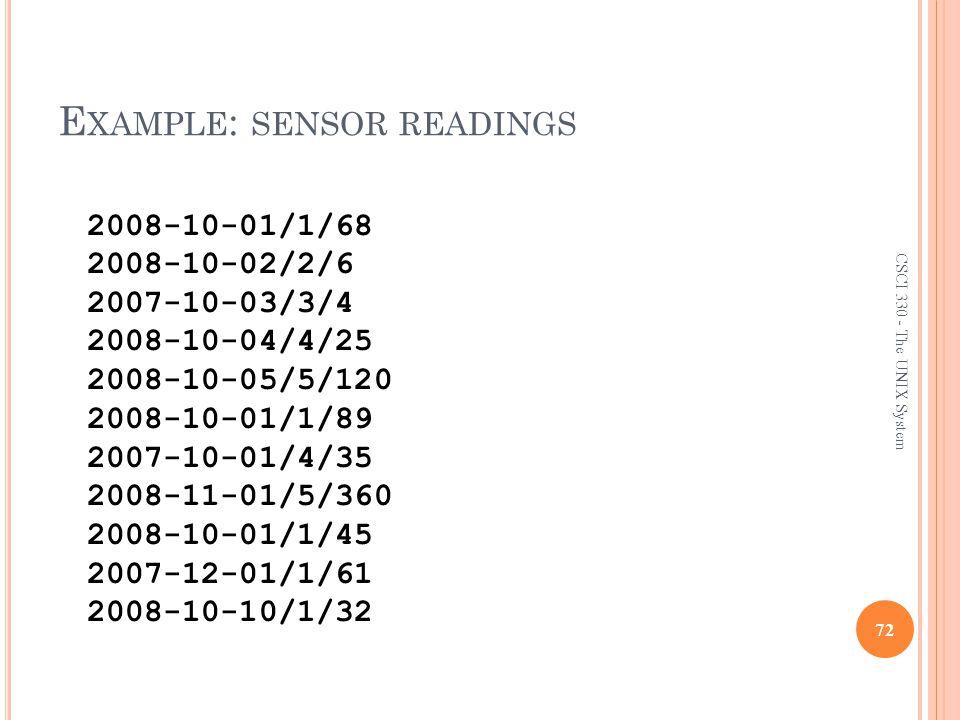 Example: sensor readings