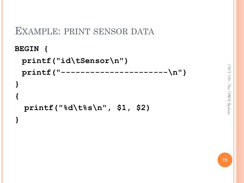 Example: print sensor data
