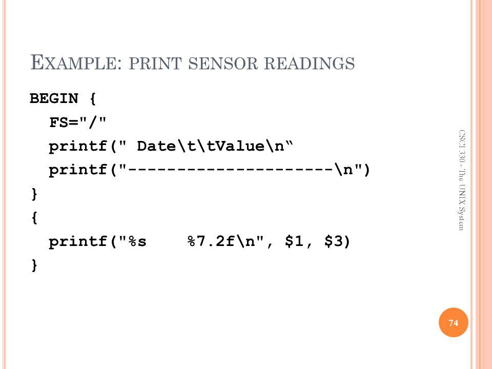 Example: print sensor readings