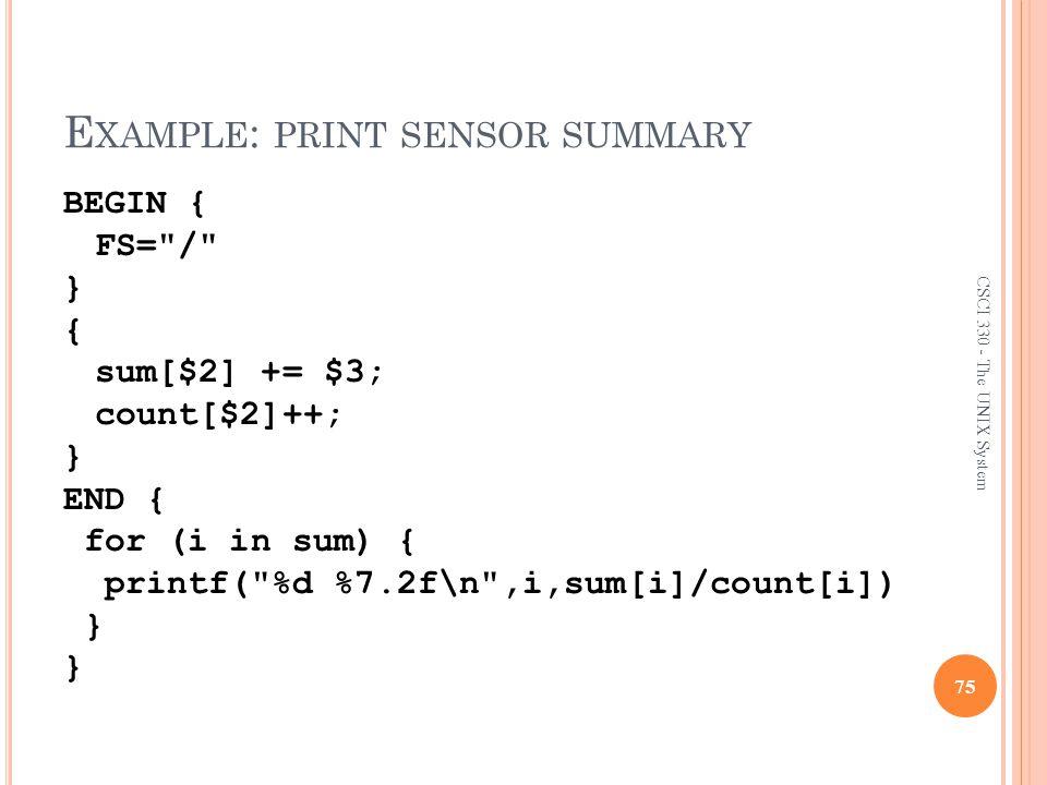 Example: print sensor summary