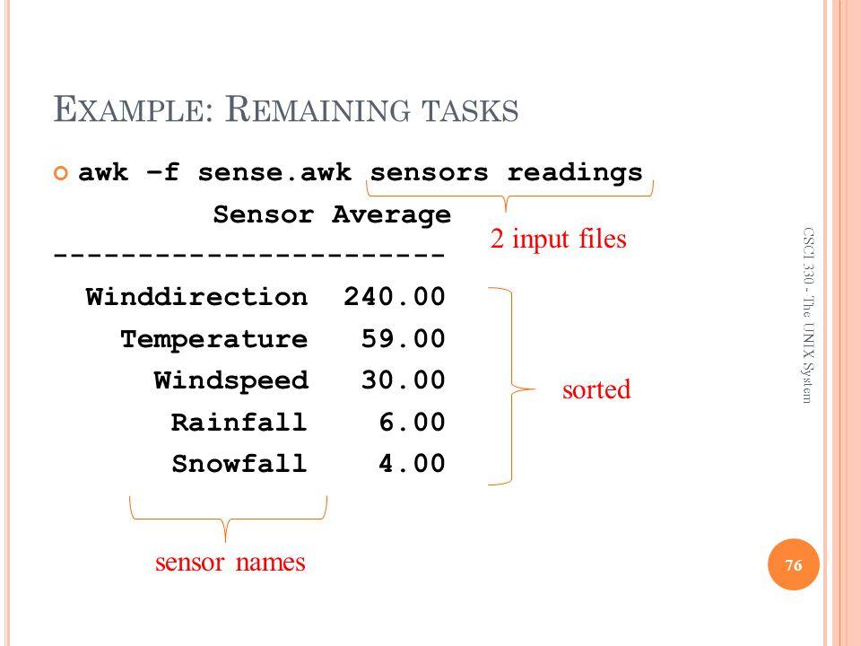 Example: Remaining tasks