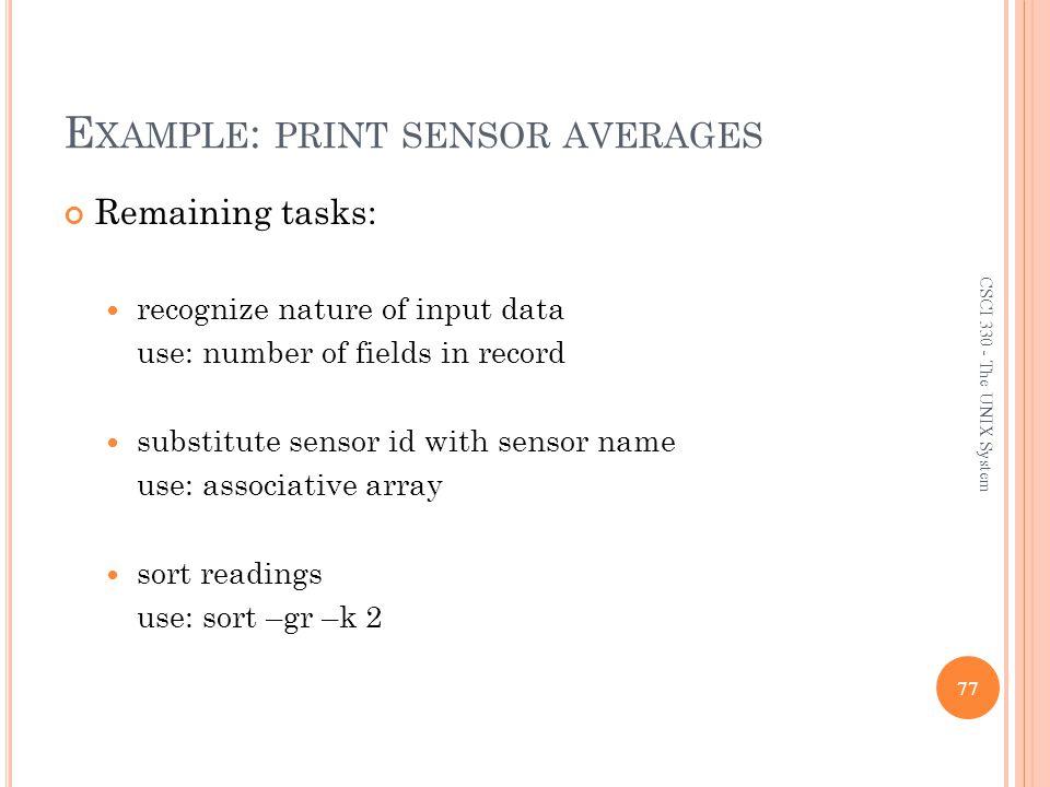 Example: print sensor averages