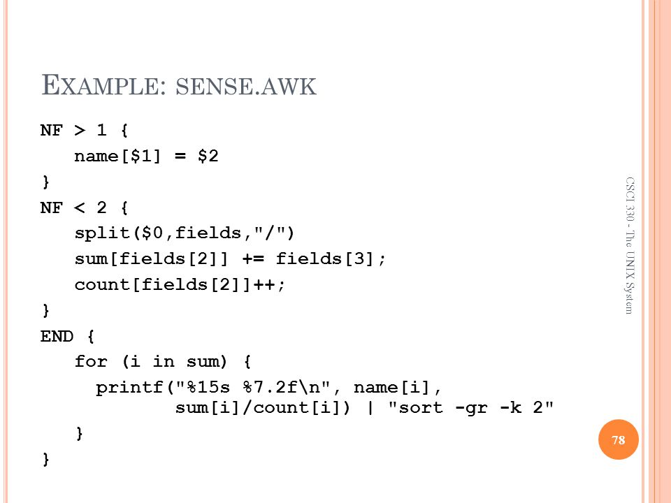 Example: sense.awk