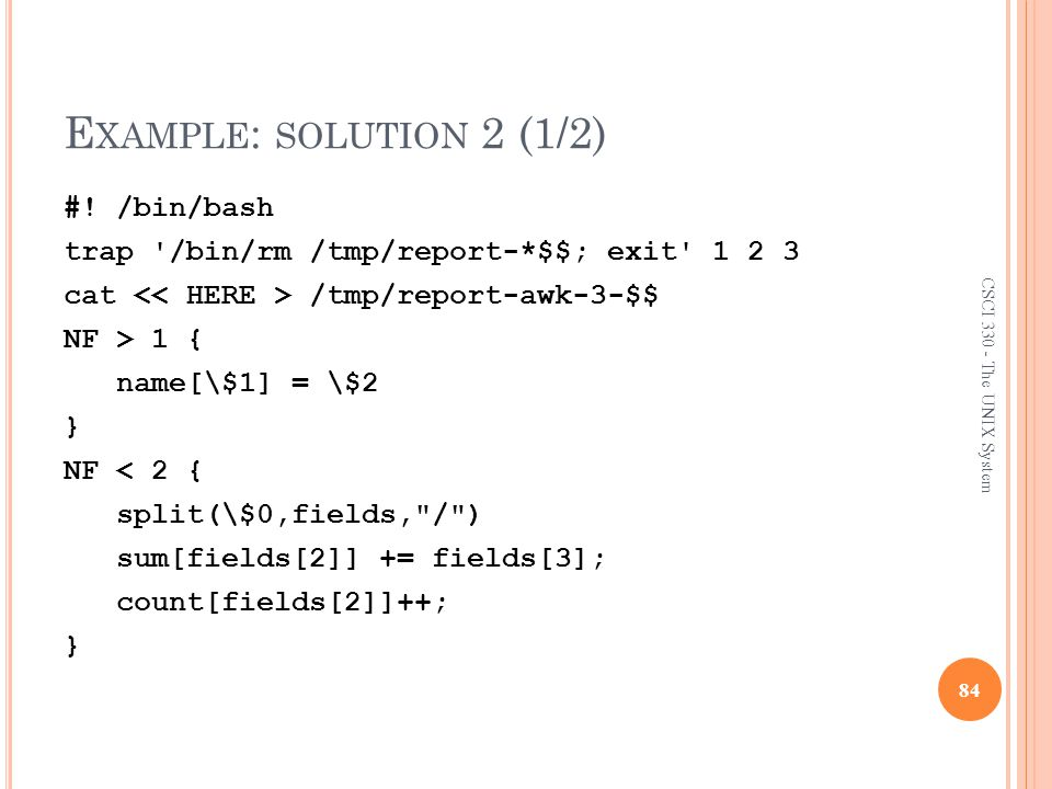 Example: solution 2 (1/2)