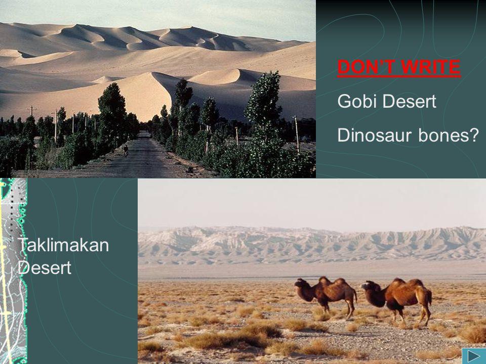 DON'T WRITE Gobi Desert Dinosaur bones Taklimakan Desert