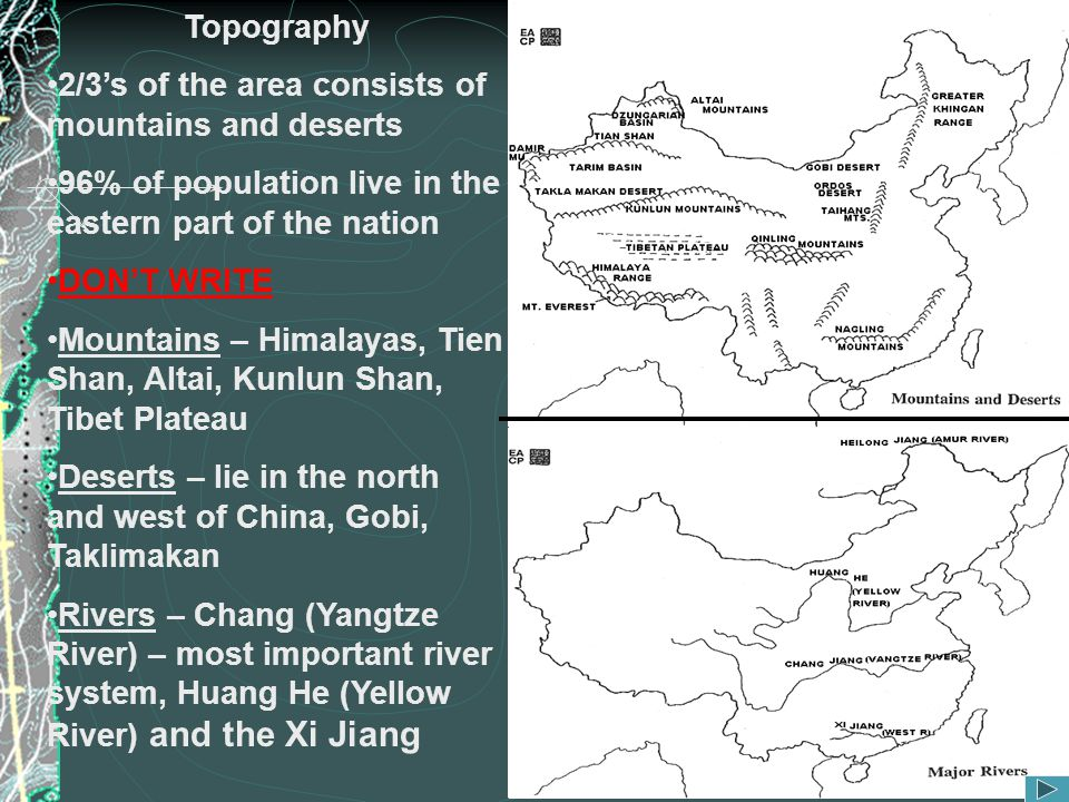 Topography 2/3's of the area consists of mountains and deserts. 96% of population live in the eastern part of the nation.