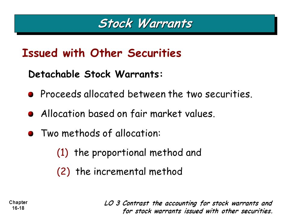 Stock Warrants Issued with Other Securities Detachable Stock Warrants: