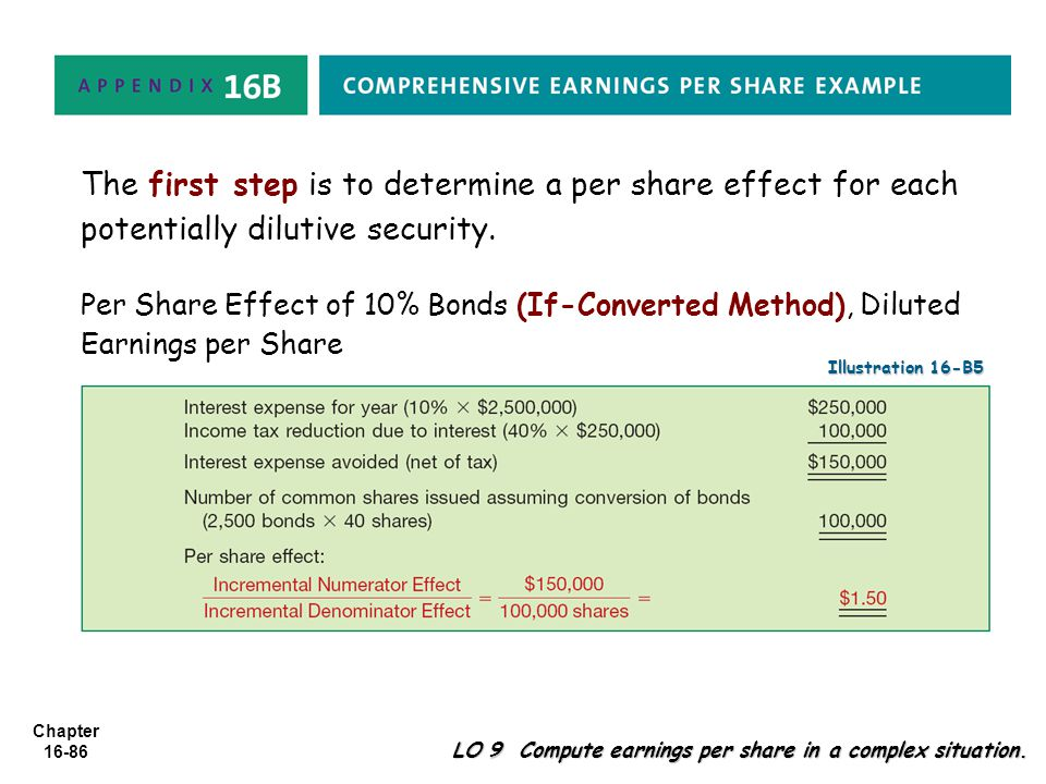 The first step is to determine a per share effect for each potentially dilutive security.