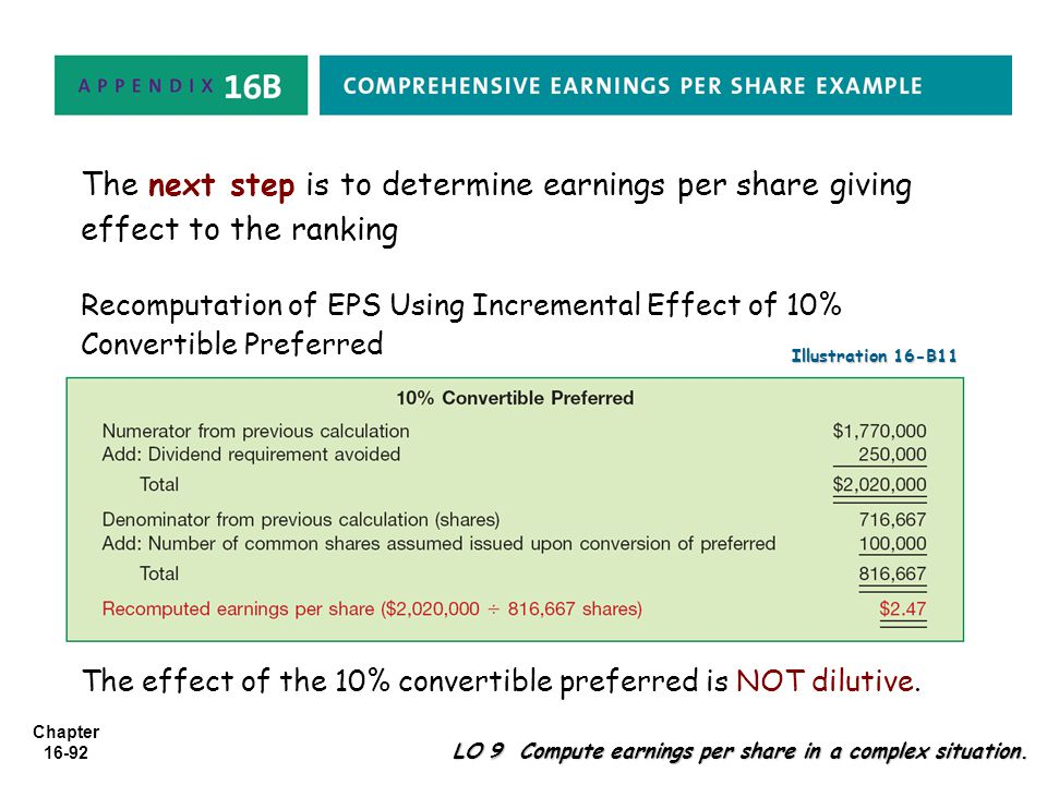 The next step is to determine earnings per share giving effect to the ranking