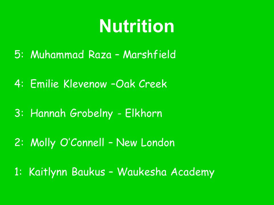 Nutrition 5: Muhammad Raza – Marshfield 4: Emilie Klevenow –Oak Creek
