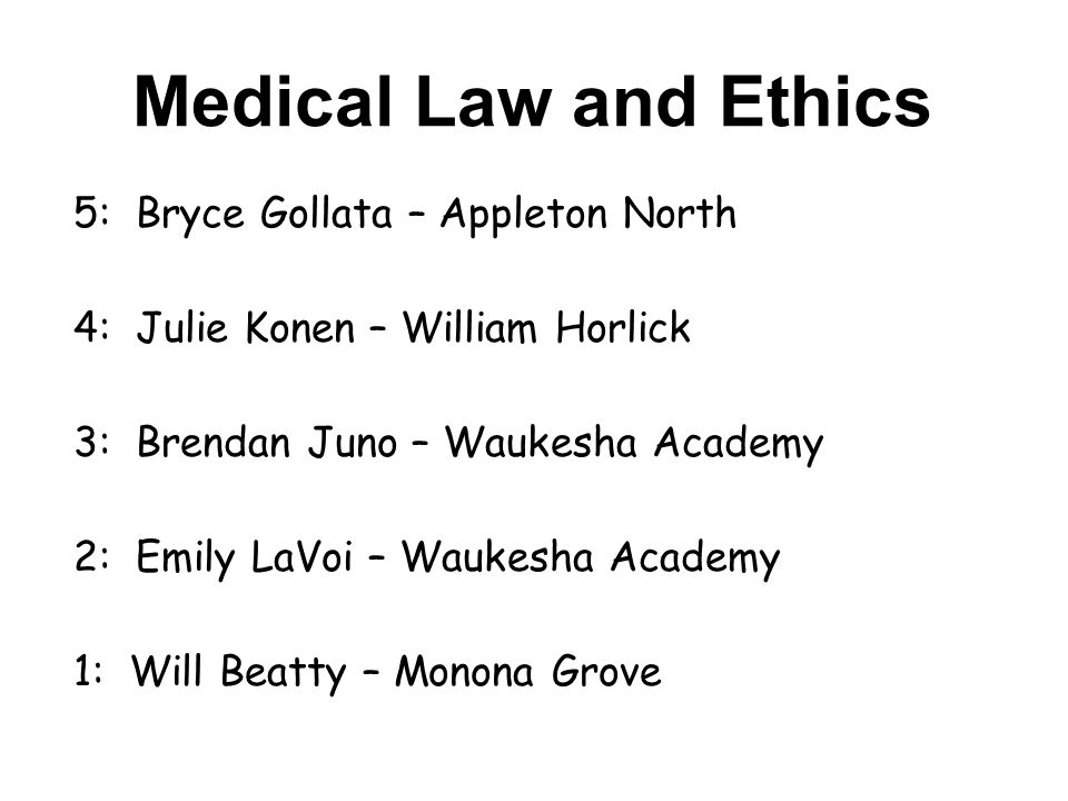 Medical Law and Ethics 5: Bryce Gollata – Appleton North