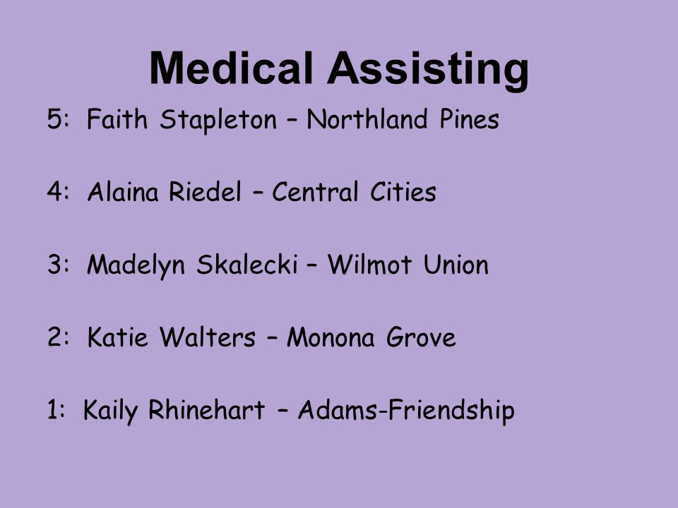 Medical Assisting 5: Faith Stapleton – Northland Pines