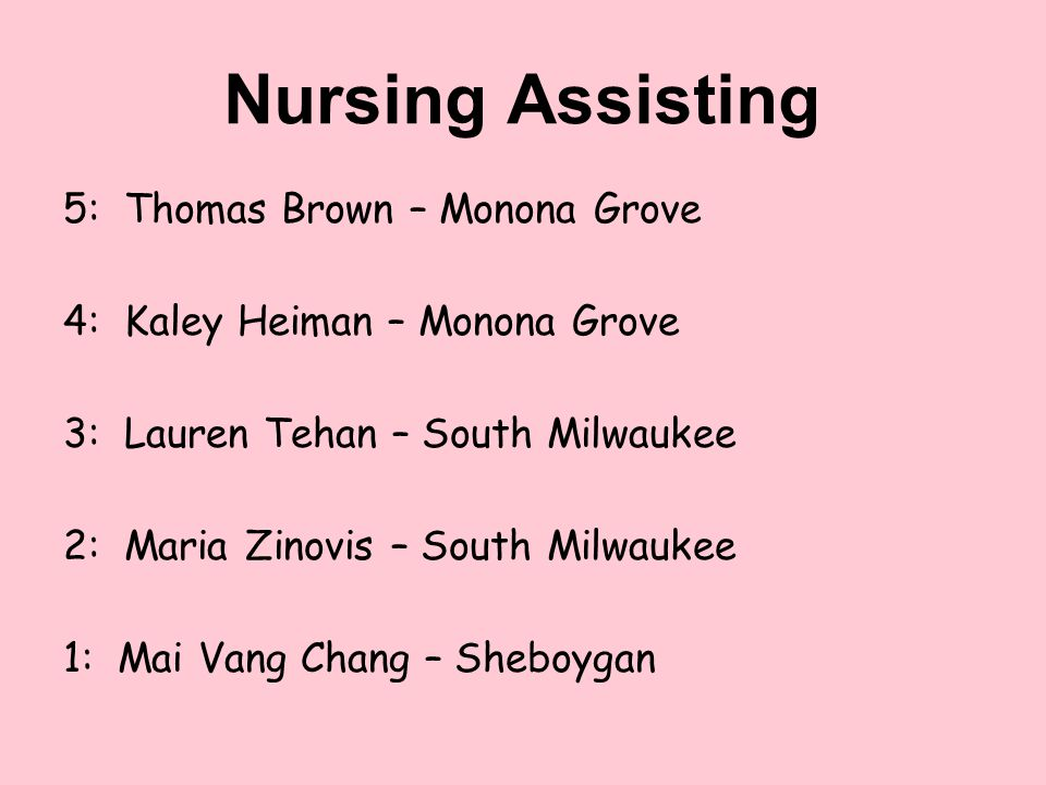 Nursing Assisting 5: Thomas Brown – Monona Grove