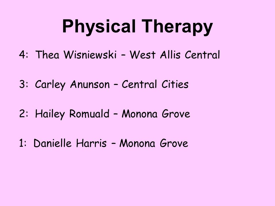 Physical Therapy 4: Thea Wisniewski – West Allis Central
