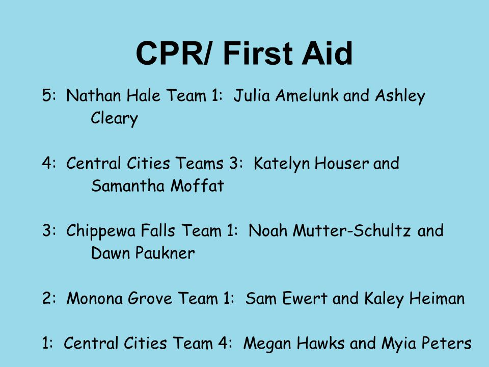 CPR/ First Aid 5: Nathan Hale Team 1: Julia Amelunk and Ashley Cleary