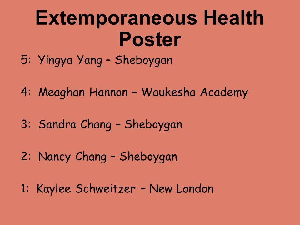 Extemporaneous Health Poster