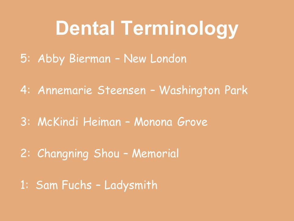 Dental Terminology 5: Abby Bierman – New London