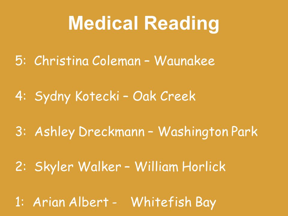 Medical Reading 5: Christina Coleman – Waunakee