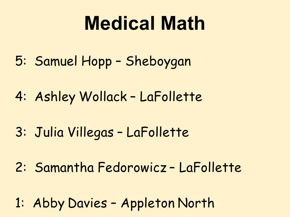 Medical Math 5: Samuel Hopp – Sheboygan 4: Ashley Wollack – LaFollette