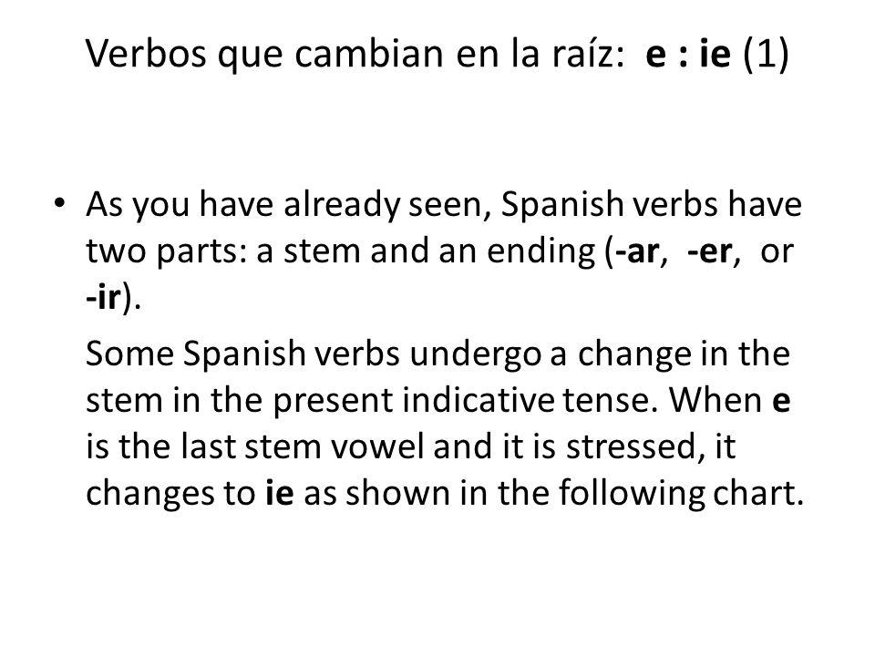 Verbos que cambian en la raíz: e : ie (1)