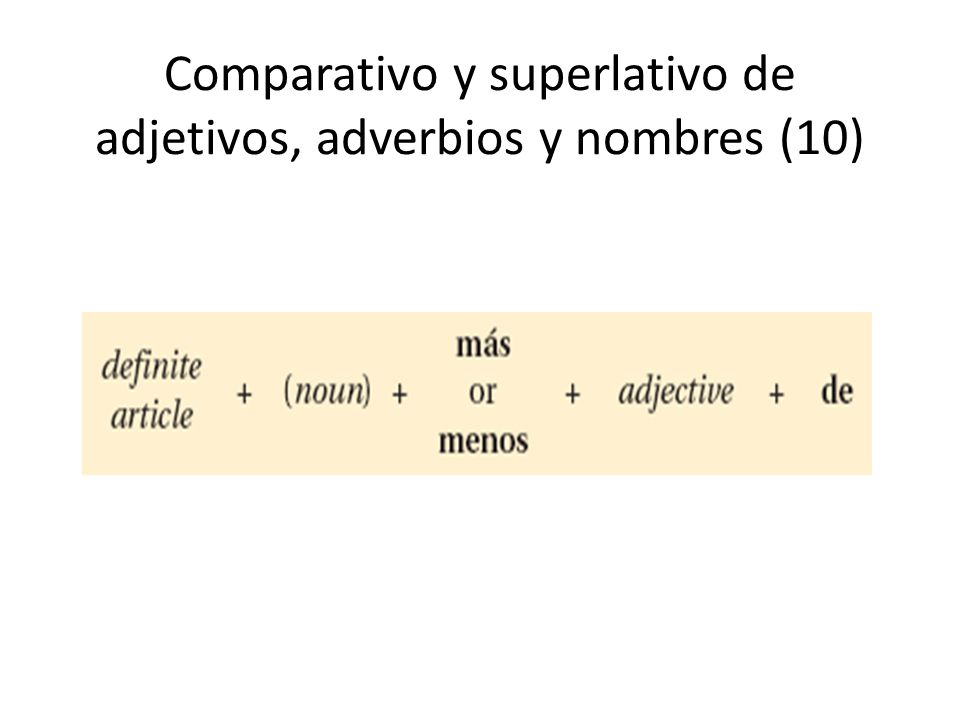 Comparativo y superlativo de adjetivos, adverbios y nombres (10)
