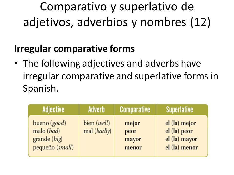 Comparativo y superlativo de adjetivos, adverbios y nombres (12)