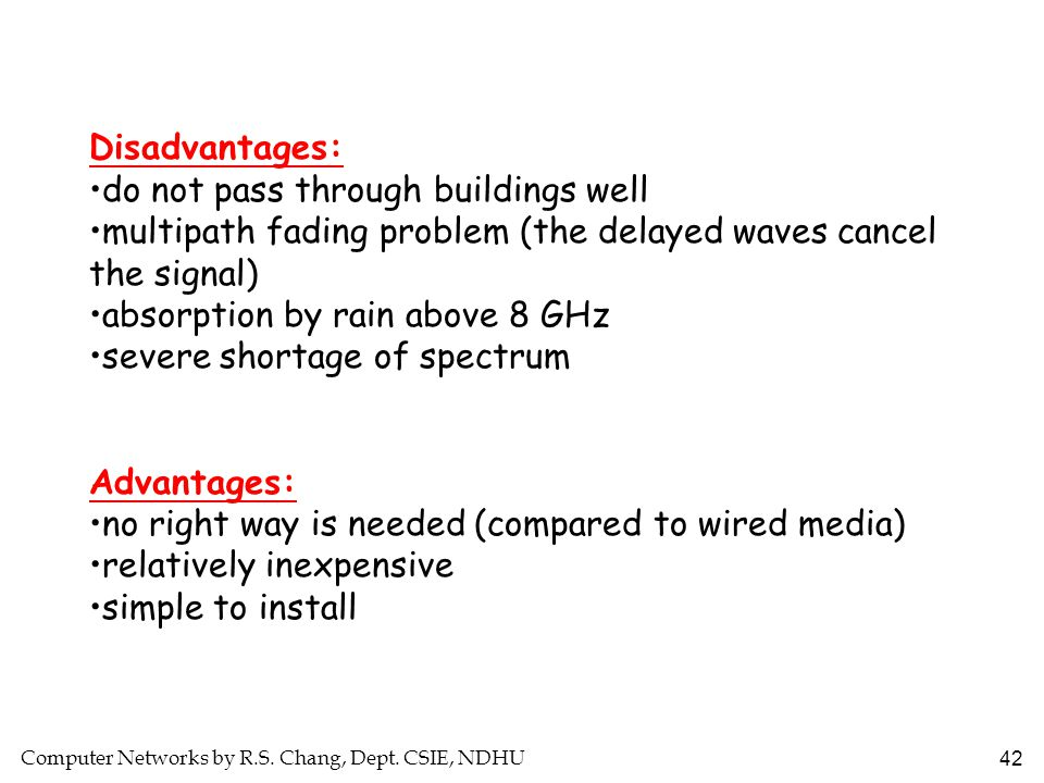 Disadvantages: do not pass through buildings well. multipath fading problem (the delayed waves cancel the signal)