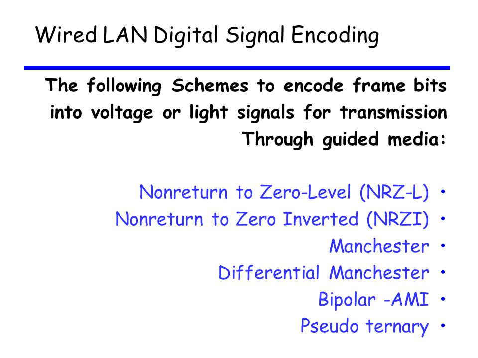 Wired LAN Digital Signal Encoding
