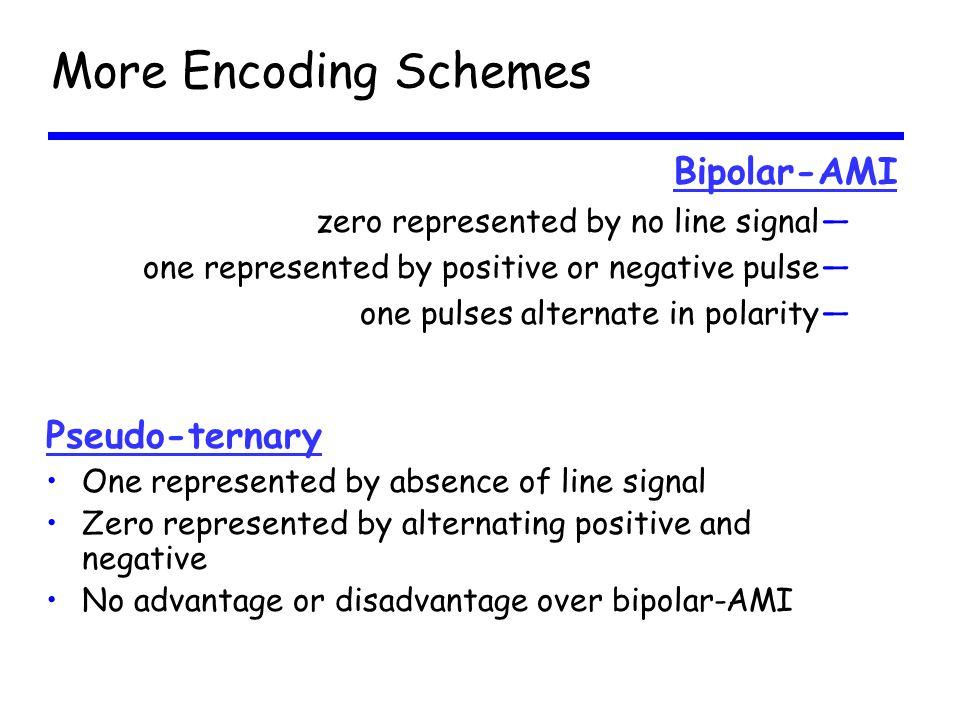 More Encoding Schemes Bipolar-AMI Pseudo-ternary