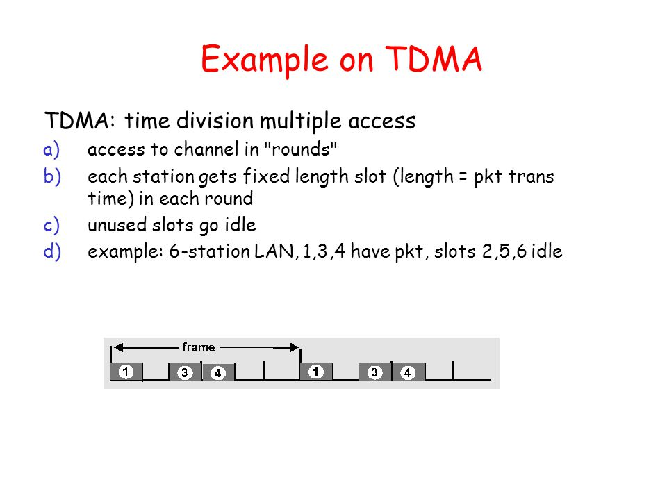 Example on TDMA TDMA: time division multiple access