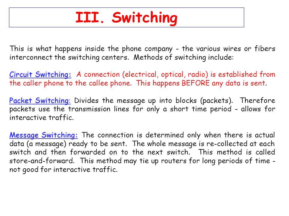 III. Switching