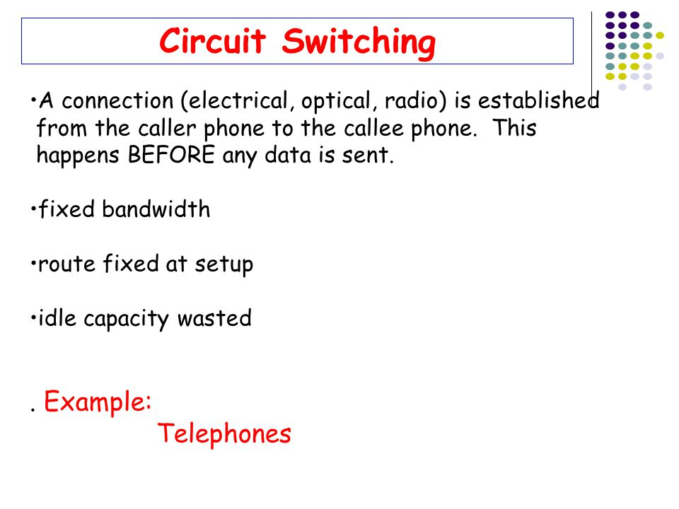 Circuit Switching . Example: Telephones