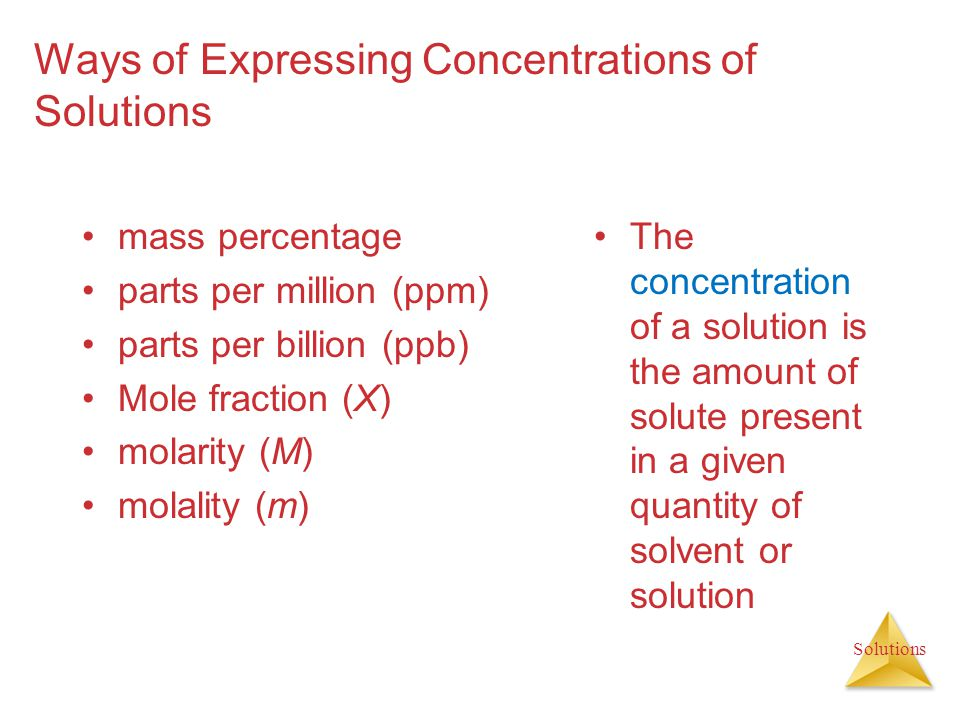 Ways of Expressing Concentrations of Solutions