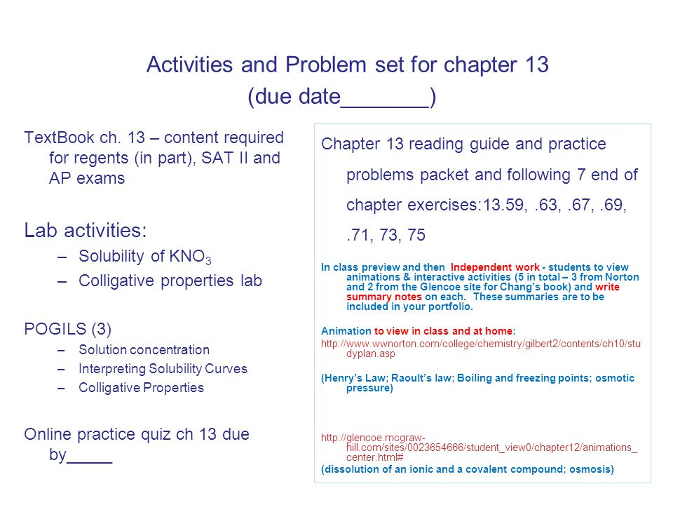 Activities and Problem set for chapter 13 (due date_______)
