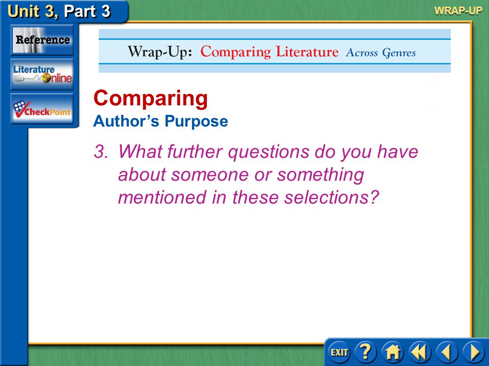 WRAP-UP Comparing. Author's Purpose.