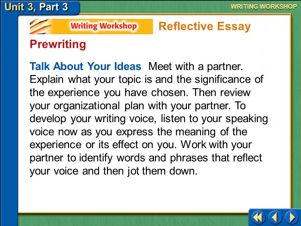 Reflective Essay Prewriting