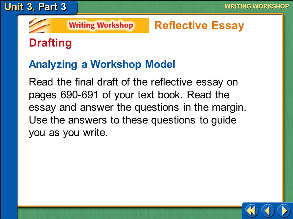 Reflective Essay Drafting Analyzing a Workshop Model