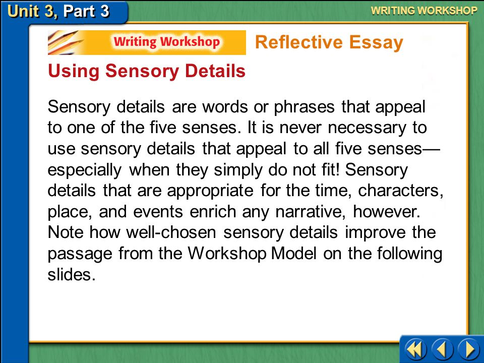 Reflective Essay Using Sensory Details