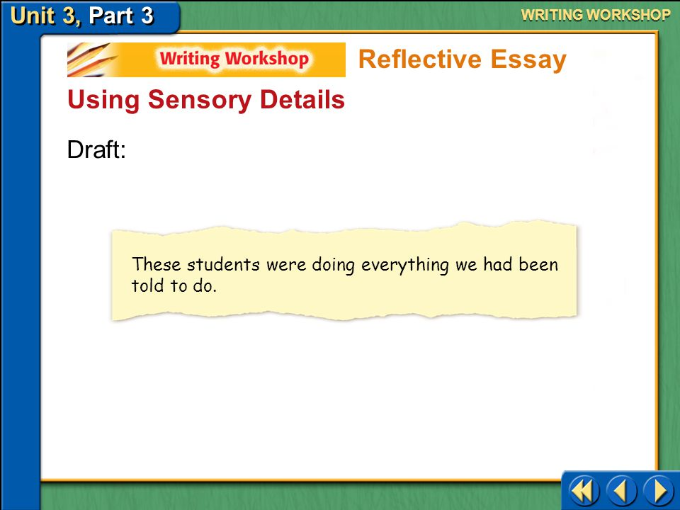 Reflective Essay Using Sensory Details Draft: