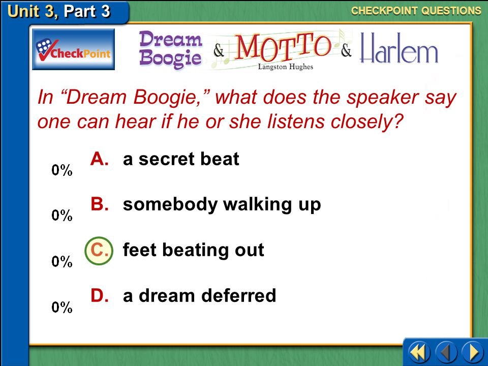 CHECKPOINT QUESTIONS In Dream Boogie, what does the speaker say one can hear if he or she listens closely