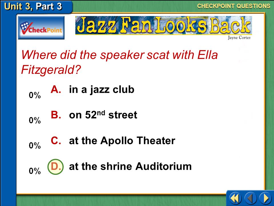 Where did the speaker scat with Ella Fitzgerald
