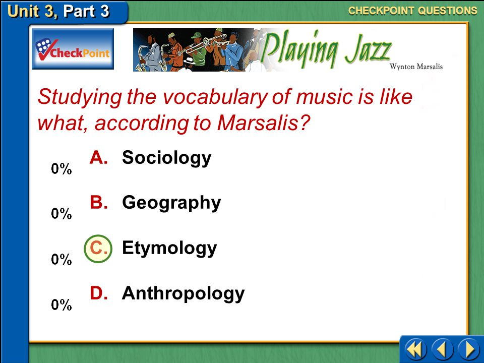 Studying the vocabulary of music is like what, according to Marsalis
