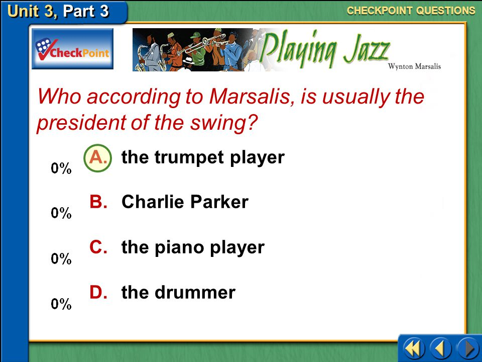 Who according to Marsalis, is usually the president of the swing