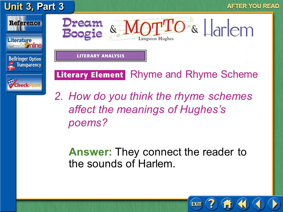Answer: They connect the reader to the sounds of Harlem.